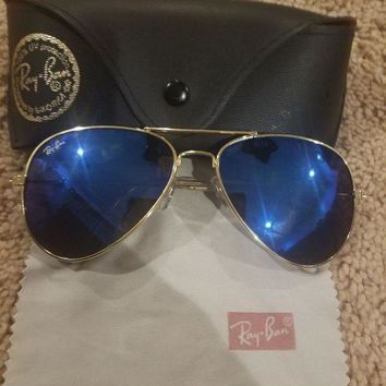 Gotopfashion Ray-Ban Sunglasses Men¡¯s Aviator Large Gold Frame with Blue Color Lens