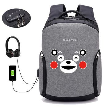 Anime Backpack School kawaii cute cute cartoon Kumamon backpack USB external hole backpack School student book bag unisex boy girls shoulder Rucksack AT_60_4