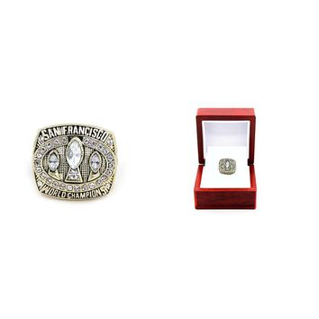 Drop shipping zinc alloy 1988 San Francisco The 49ers Championship Rings set With Wooden Box