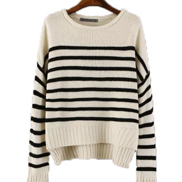 Navy Style Striped Print Sweater