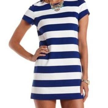 White/Blue Striped Short Sleeve T-Shirt Dress by Charlotte Russe