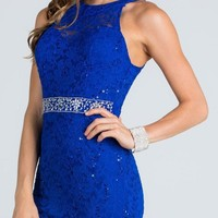 Keyhole Back Royal Blue Lace Fitted Cocktail Dress Rhinestone Waist