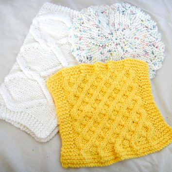 Knit Dishcloth Washcloth Round Square White Yellow Colorful Set of 3