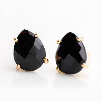 Black Onyx Stud Earrings, Minimalist Studs,