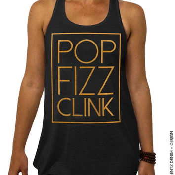 Pop Fizz Clink - Cheers New Years Eve - Black with Gold Flowy Racerback Bridal Party Tank Top