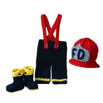 Newborn Infant Baby Fireman Firefighter Hat Pants Boots Handmade Knit Crochet Baby Photography Props Outfit (Size: 0-6m) = 1958325892
