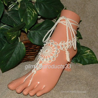 Lace Barefoot Sandal, Pearl Barefoot Sandals, Footless Sandles, Crochet Anklet