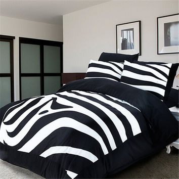 King Queen Cotton Black White Bedding Set Boho Patchwork Quilt Zebra Stripe Bed Linen Single Double 3D Duvet Cover/Bed Sheets