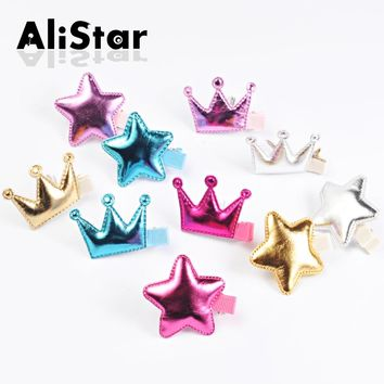 5pcs/lot Candy color pu leather hairpins Cute Fashion Star Crown Design Hairgrips bobby pins hair jewelry accessories #JH031