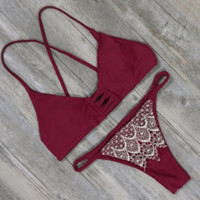 Retro Two Piece Lace Stitching swimsuits Set Swimwear BK068