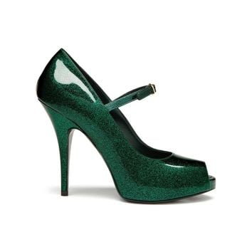Evening Peep-toe in Emerald Glittered Patent | Women | Mulberry