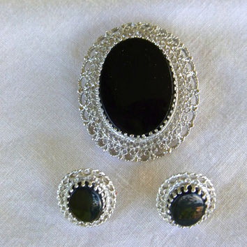 Charles Rothman Karen Lynne Sterling and Onyx Brooch and Earrings Vintage Demi Parure Gift for Her