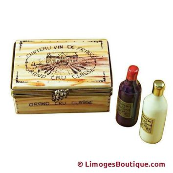 WINE CRATE W/2 BOTTLES LIMOGES BOXES