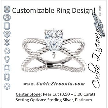 "Cubic Zirconia Engagement Ring- The Zaylee (Customizable Pear Cut Solitaire with Wide Rope-Braiding ""X"" Split Band)"