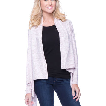 Space Dyed Open Cardigan Sweater - White / Plum