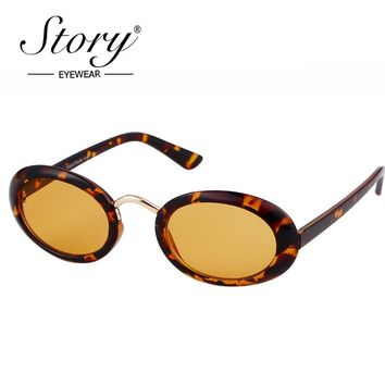 STORY 2018 Retro Small Oval Sunglasses Women Men Brand Designer Leopard Frame Steampunk Oval Sun Glasses 90S Sunglasses