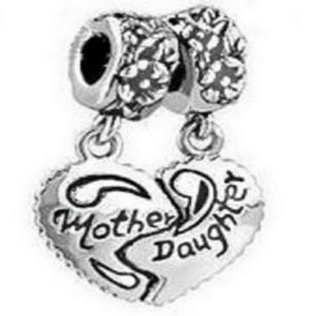 1set Broken Heart Mother&Daughter Dangle Charm Beads Fit Bracelet (Color: Antique silver) = 1945740100