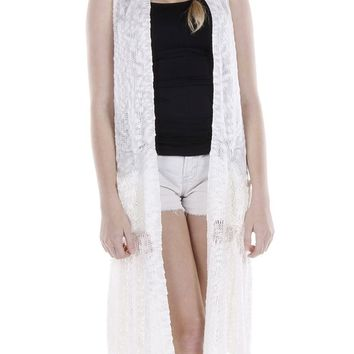 Crocheted Long Coverup Vest 115
