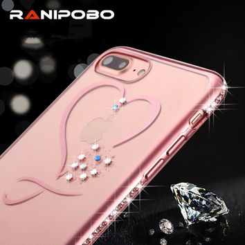 Clean Soft TPU Plating Glitter Diamond Cover For iphone 7 7 Plus 6 6s Plus Ultra Thin RoseGold Crystal Phone Cases For iphone 7