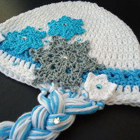 "Crochet hat, Baby beanie, Elsa hat, hat for girls, newborn hat, head accessories - Frozen's Inspiration - Up to adult 58 cm (22"")"