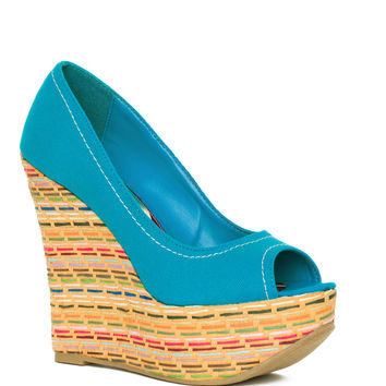 Canvas Cotton Wedge - Turquoise