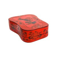 Pre-owned Red Lacquer Chinoiserie Lidded Box