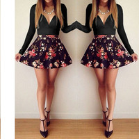 Black Sweetheart Neckline Long Sleeve Dress with Floral Skirt