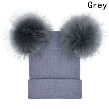Winter Baby Knit  Hat With Two Fur Pompoms Boy Girls Natural Fur Ball Beanie Kids Caps Double Fur Pom Hat for Children and Adult