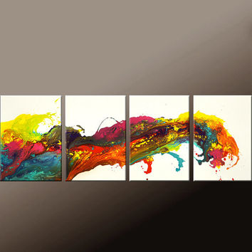 4pc Abstract Art Painting on Canvas 72x24 Original Contemporary Paintings by Destiny Womack - dWo -  Wave of Emotion