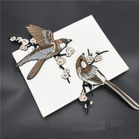 Han Noble Bird Embroidered Patches Iron on Sewing Parches for clothes applique embroidery DIY Supplies Crafts Sticker 1Pair P218