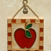 Artisan Made Apple Stained Glass Panel Apple Theme Suncatcher Kitchen Decor Wall Art Glass Ornament Wall Hanging House Warming Gift