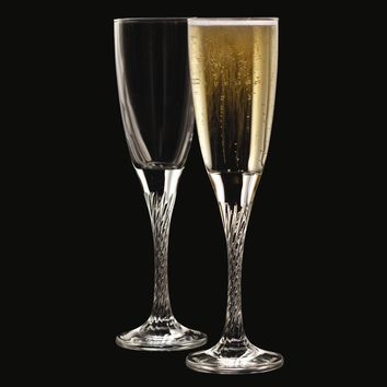 Private Party Crystal Set of Two 5 oz Twisted Stem Flutes