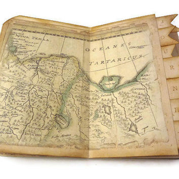 Travel Journal, Travel Scrapbook, Old World Map, Travel Photo Album, Vintage Inspired, Handmade Art Journal