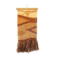 Vintage Large Vintage Macrame Rug. Loomed & Woven Art Wall Tapestry Hanging. 1970s neutral colors