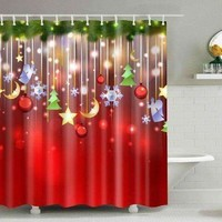 Christmas Waterproof Mouldproof Shower Curtain - L