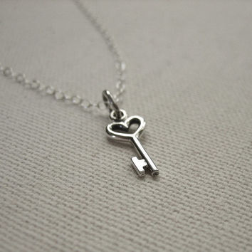 Tiny Key to my Heart Necklace Sterling Silver - Love Jewelry - Customize, Personalize