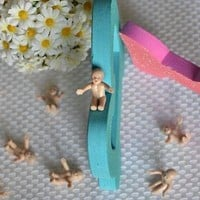 "12 Brown Babies Sitting Favor Crafts Baby Shower DIY 1"" Figurines"