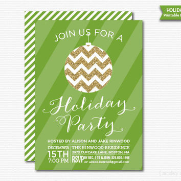 Christmas Bulb Printable Invitation Holiday Party Christmas Party Invite DIY Digital Glitter Modern Green Gold