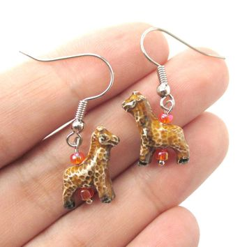 Realistic Giraffe Shaped Porcelain Ceramic Animal Dangle Earrings | Handmade
