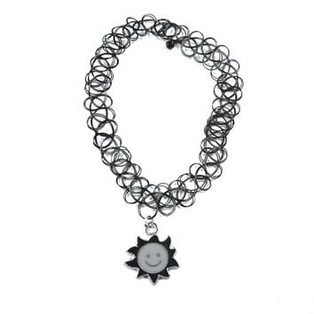 Tattoo Stretch Choker Necklace Pendant Choker Necklace Sun Pendant