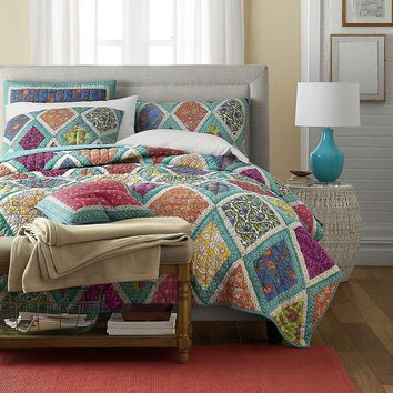 Cotton Patchwork Quilt - Fairy Forest Glade Floral Print Bedspread Set, Turquoise Real Patchwork, Full, 3-Pieces