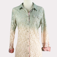Ombre Lace Shirt in Peach