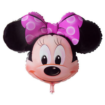 Best Quality Minnie Mouse Head Foil Balloon Kids MIckey Ballons Happy Birthday Globos Party Decoration Baby Shower Balao Ball