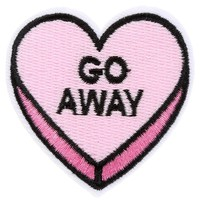 Go Away Heart Iron-On Woven Patch | Attitude Clothing