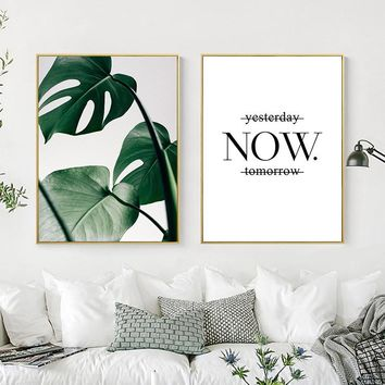 Tropical Green Plant Nordic Canvas Painting Now Letter Wall Art Print Picture Home Decor Poster Living Room Bedroom Decor