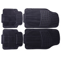 Adeco 4-Piece Car Vehicle Universal Floor Mats, All-Weather Rubber, Black Color, Oval/Line Detail