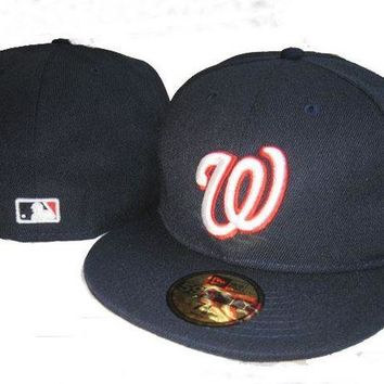 CREY8KY Washington Nationals New Era MLB Authentic Collection 59FIFTY Hat Balck
