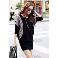 Black and Gray Long Sleeve Knitted Dress