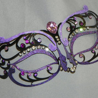 Black and Purple Metallic Filigree Masquerade Mask