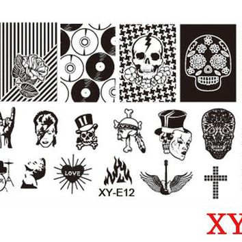 Halloween Stamping Plates Nail Art Templates New 2017 Stainless Steel Ghosts Skulls Pumpkin Crow Stencils Polish Tools CHXYS/XYE